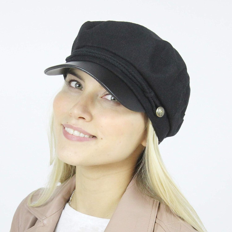 MIRMARU Women s Winter Greek Sailor Fisherman Cabbie Cap Newsboy Baker boy  hat with Elastic Band ... c1254929f62d