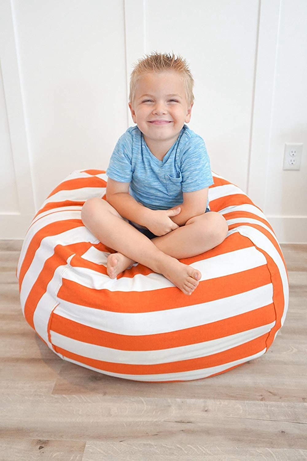 38, Orange + White Household Storage Bag Large Capacity Canvas Bean Bag Stuffed Animal Storage Bean Bag Chair for Kids vTopTek Stuff n Sit