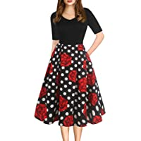 oxiuly Women's Vintage Elegant V-Neck Casual Party Cocktail Swing Work Midi Dress...