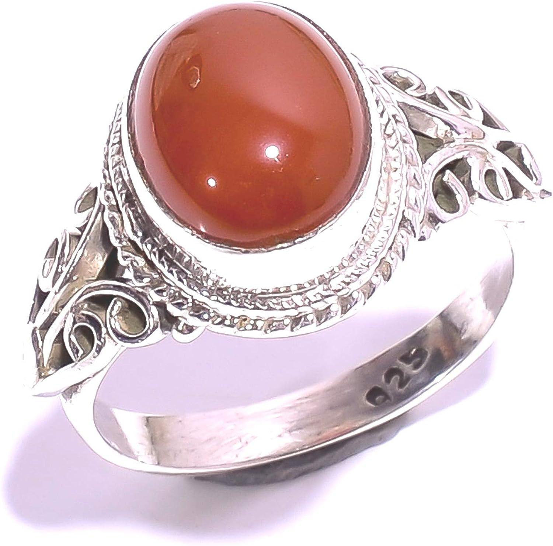 mughal gems & jewellery anillo de plata de ley 925 con piedras de cornalina natural anillo para joyas de alta calidad para mujeres y niñas talla 6,25 U.S. (ZR-916