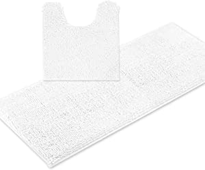 ITSOFT 2pc Non-Slip Shaggy Chenille Bathroom Mat Set, Includes 21 x 24 Inches U-Shaped Contour Toilet Mat and 21 x 47 Inches Bath Mat, Machine Washable, White