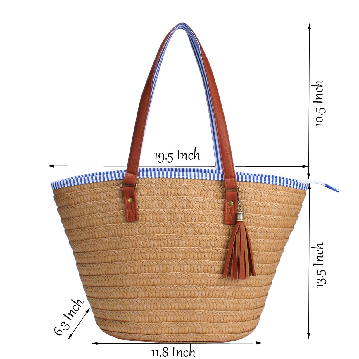 Sornean Straw Beach Bag Handbags Shoulder Bag Tote,Cotton Lining,PU Leather Handle-Eco Friendly (Off White) by sornean (Image #3)