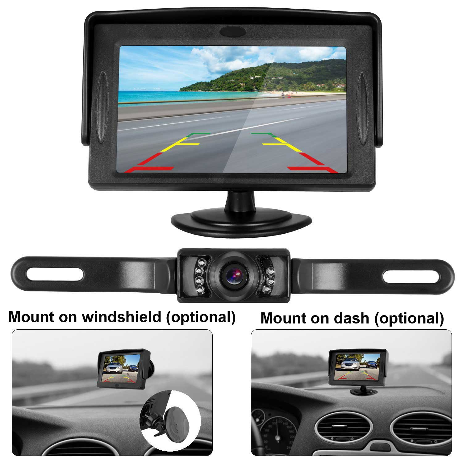 iStrong Backup Camera and Monitor Kit 4.3 Display Waterproof Camera only need single power Rear view or Fulltime View Optional For Car Vehicle 7 LED IR Night vision with Guide Lines