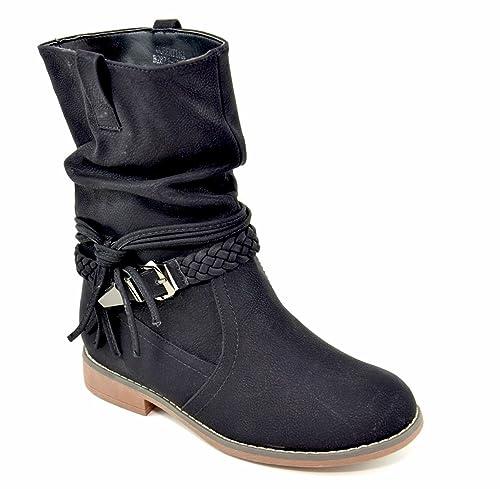6663ca87c75311 King Of Shoes Damen Stiefeletten Stiefel Schnalle Flache Schlupf Biker  Boots Blockabsatz BZ28  Amazon.de  Schuhe   Handtaschen