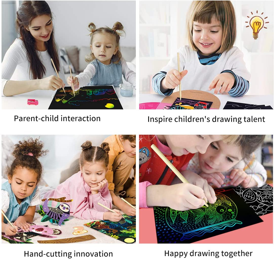 RUIYIQI 55 PCS Scratch Paper for Kids Rainbow Scratch Art Sheet Set Include Million Flower Ruler 210 x 280mm Drawing Stencils and Stylus for DIY Creative Painting