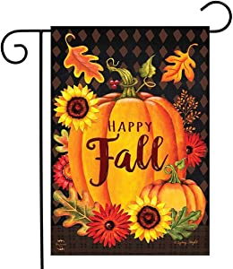 Splash Brothers Customized Happy Fall Garden Flag Vertical Double Side, Autumn Pumpkins Sunflowers Thanksgiving Home Yard Outdoor Lawn Decorations 12.5 x 18 Inch (Thanksgiving-2)