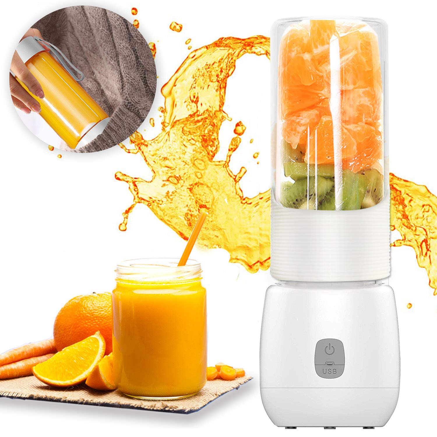 Dee Banna Mini Portable Usb Rechargeable Juicer Blender With 6 Blades 460ml White Personal Blender For Travelingspotshomeoffice And Outdoorperfect