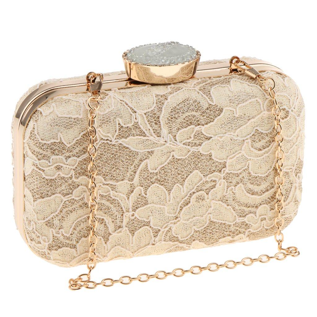 Fenteer Women Ladies Lace Shoulder Chain Handbag Party Prom Wedding Evening Clutch Purse - Apricot