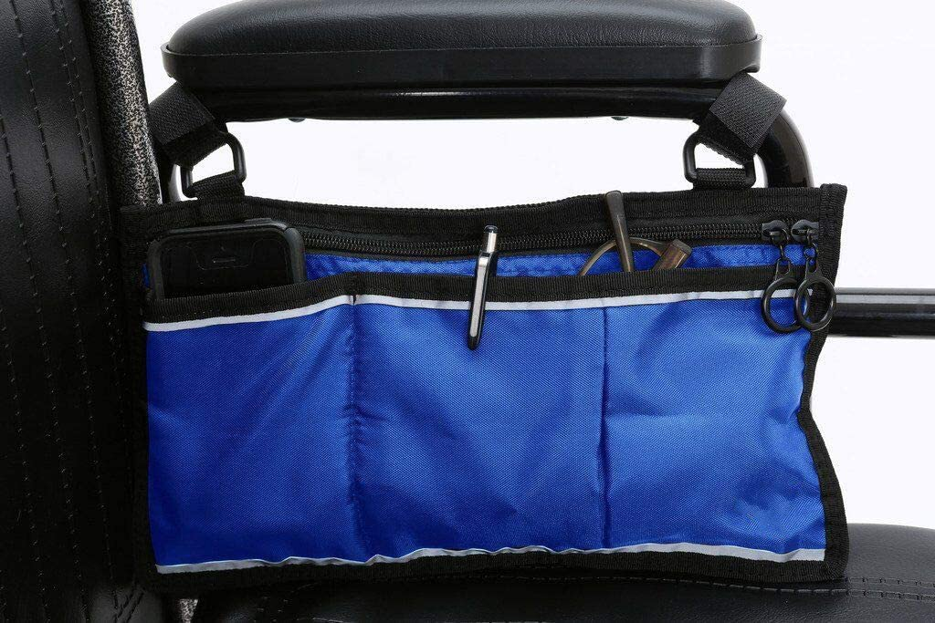 GHzzY Bolsa Lateral para Silla de Ruedas - Bolsa organizadora Impermeable Multifuncional - Mochila para sillas de Ruedas Multibolsillos para Personas Mayores, discapacitadas y Embarazadas,Blue