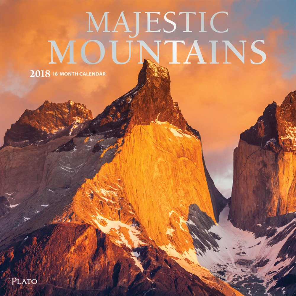 Majestic Mountains 2018 12 x 12 Inch Monthly Square Wall Calendar by Plato, Nature Travel Mountain