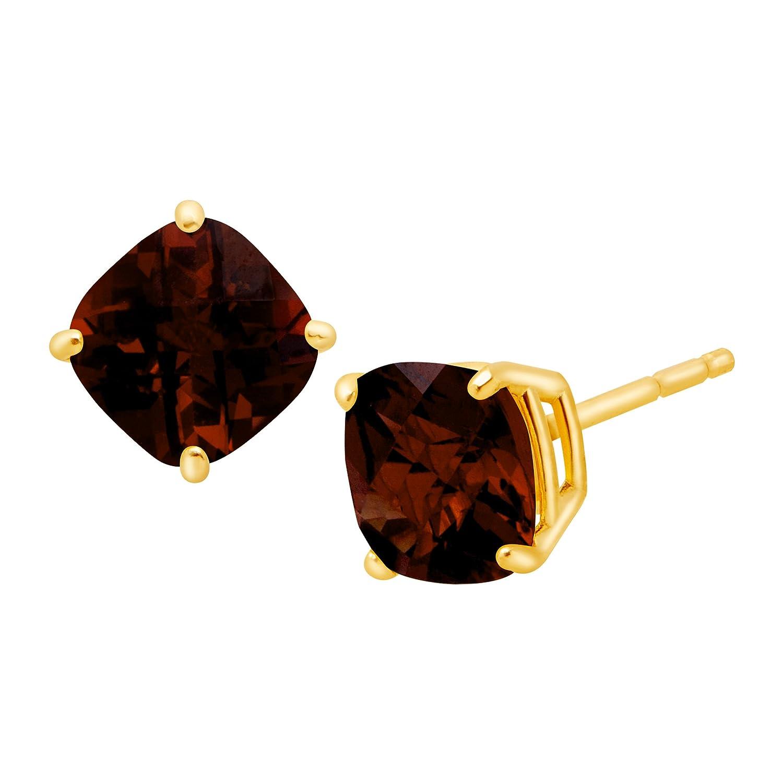 1 3/4 ct Cushion-Cut Natural Garnet Stud Earrings in 14K Gold