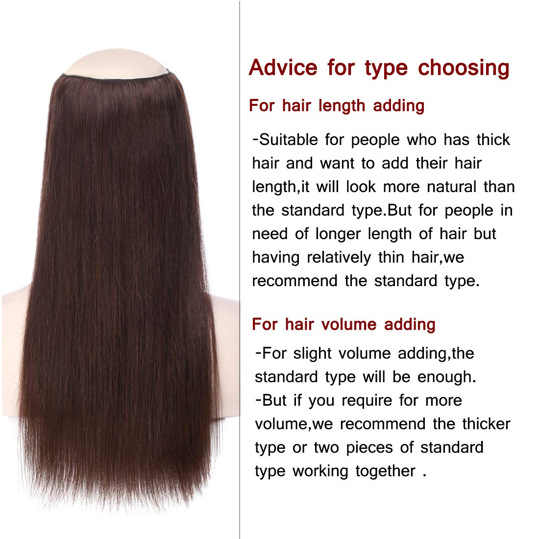 6466af8eba0 Amazon.com : Human Hair Flip on Invisible Hidden String Crown Hair  Extensions No Clips in Secret Hairpieces with Miracle Transparent Fish Line  For Women #02 ...