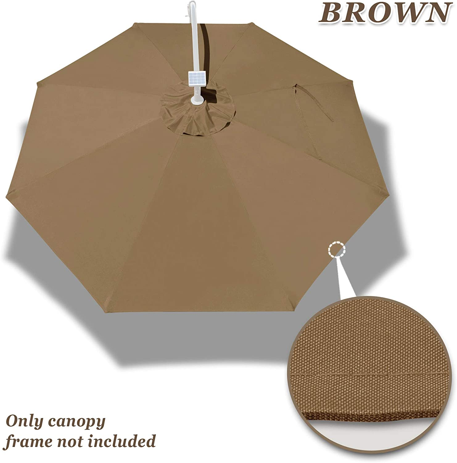 Strong Camel Replacement Canopy for 9FT 8rib Outdoor Patio Umbrella Polyester Top Cover Brown