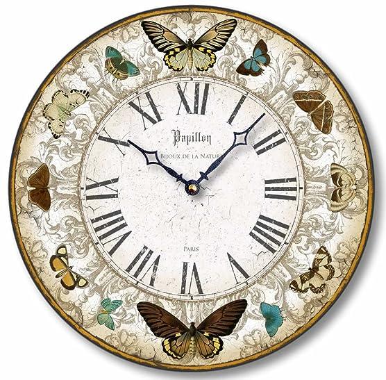 Fairy Freckles Studios Item C8221 Vintage Style Butterflies Clock 12 Inch Diameter