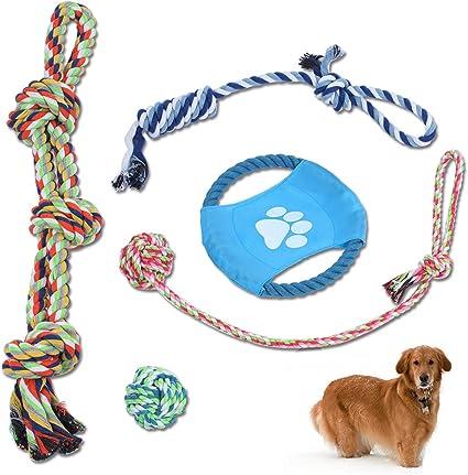Elfirly Juego de 5 juguetes de cuerda para perro para masticar ...
