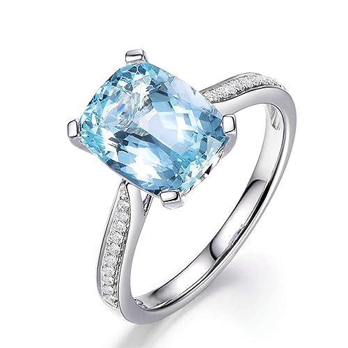 Blisfille Joyas Anillos Oro de Compromiso Caro Anillo de Rectangle Anillo Hombre Oro y Diamantes Anillo de Plata de Ley 925,Blanco Oro del Tamaño 6,75-25: ...