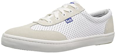 Keds Women's Tournament Retro Court Perf Leather Fashion Sneaker, White/Blue,  ...