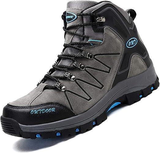 Ikeyo Chaussures de Randonnée Homme Chaussures de Marche Imperméable Hautes Bottes de d'escalade Montantes Trekking Promenades Sports