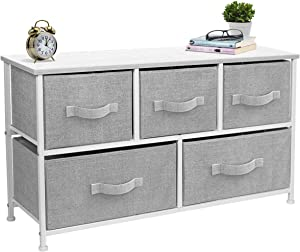 Sorbus Dresser with Drawers - Furniture Storage Tower Unit for Bedroom, Hallway, Closet, Office Organization - Steel Frame, Wood Top, Easy Pull Fabric Bins (5-Drawer, White/Gray)