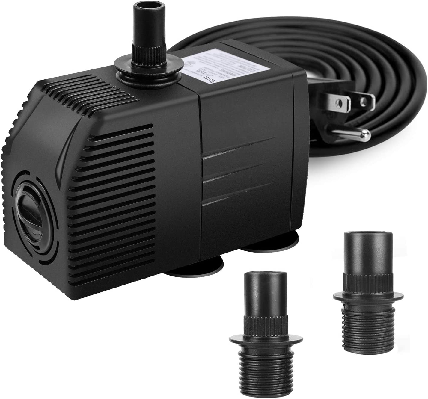 BARST 290GPH Submersible Water Pump with Filter(1100L/H, 16W), Ultra Quiet Aquarium Pump for Fountains, Pool, Fish Tank, Pond, Statuary Fountain Pump with 4 Strong Suction Cups,3 Nozzles: Home Improvement