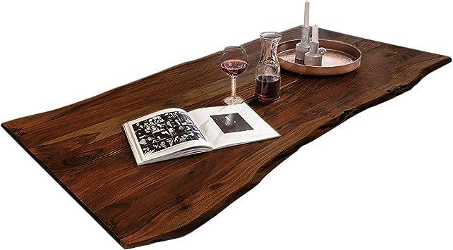 SAM Tischplatte 120x80 cm, Akazie massiv, naturfarben, stilvolle Baumkanten Platte, pflegeleichtes Unikat