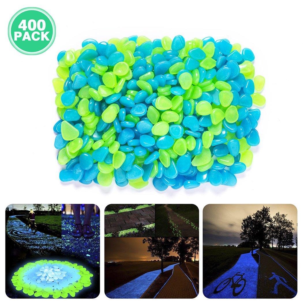 Besiva Glow in the Dark Pebbles, 400PCS Outside Bulk Glow Stones Rocks for Outdoor Fairy Garden, Walkways, Driveway, Path, Fish Tank Aquarium DIY Decorations Gravel (Blue&Green)
