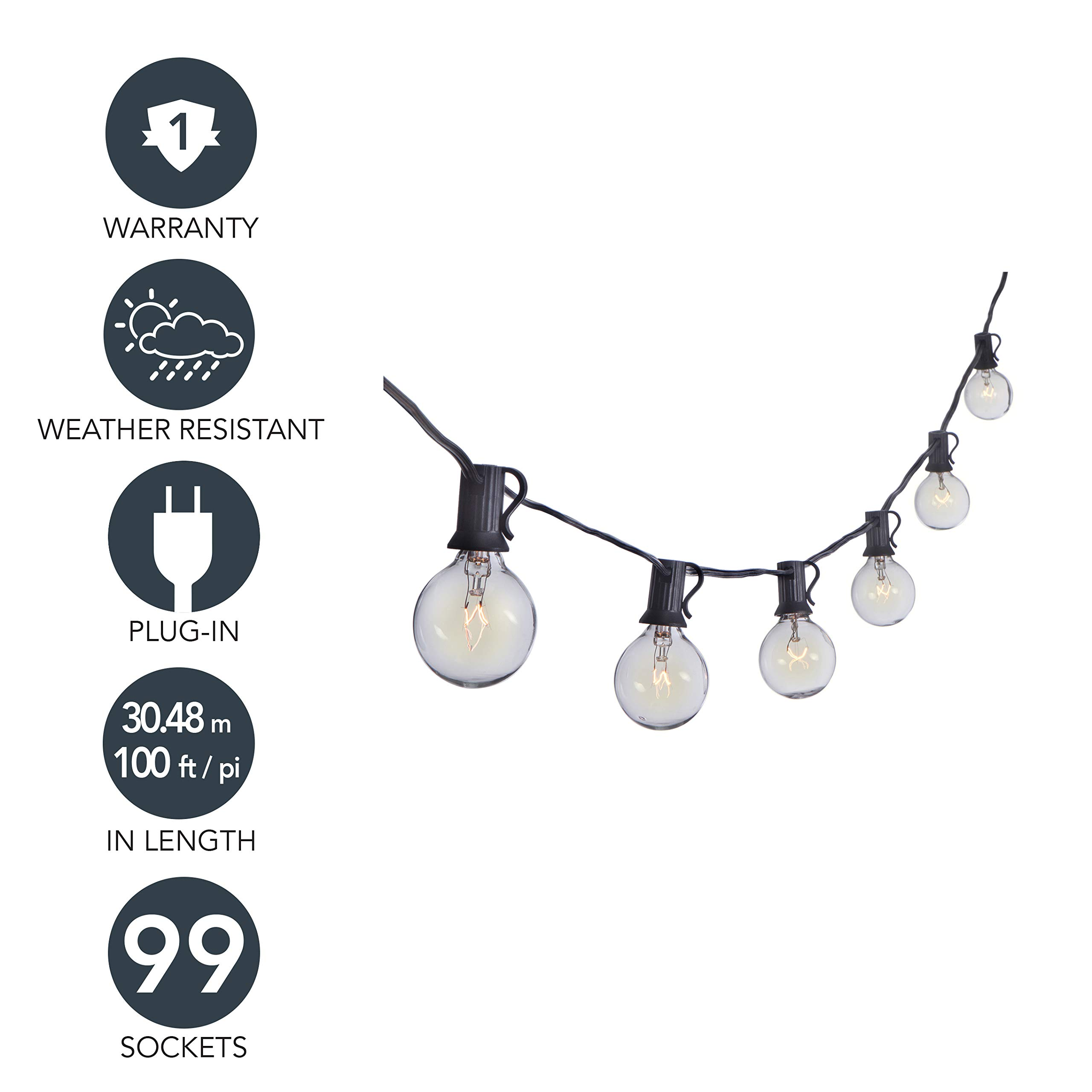 Sterno Home 100-Ft Clear Globe Outdoor String Lights G40 Bulbs on Black Cord – For Backyard, Weddings, Patio, Porch, Umbrellas, Tents, and more.