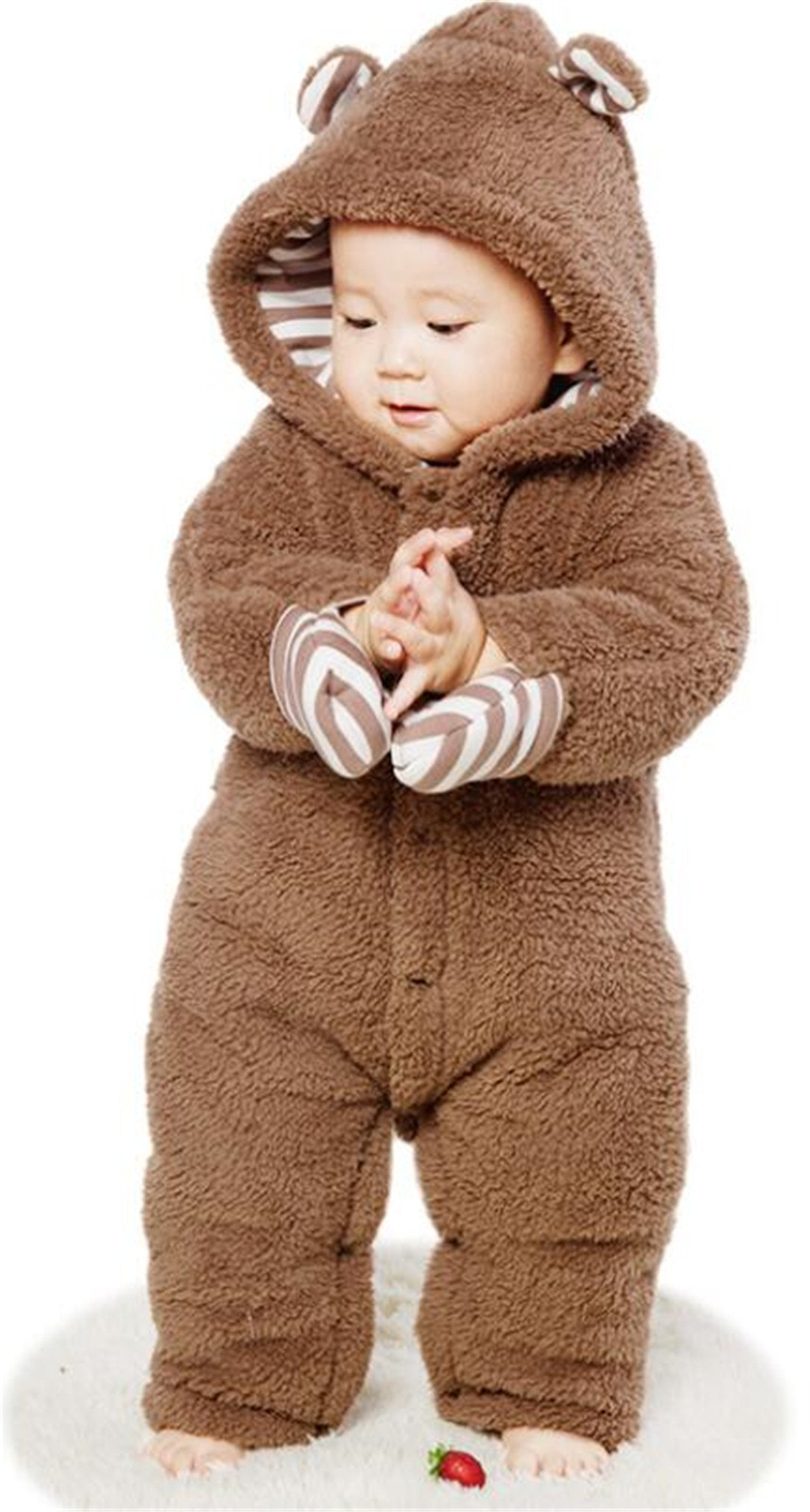 LOTUCY Infant Boys Girls Winter Snowsuit Bear Pattern Jumpsuit Hooded Outerwear Coat Size 12-18 Months/Tag90 (Brown)