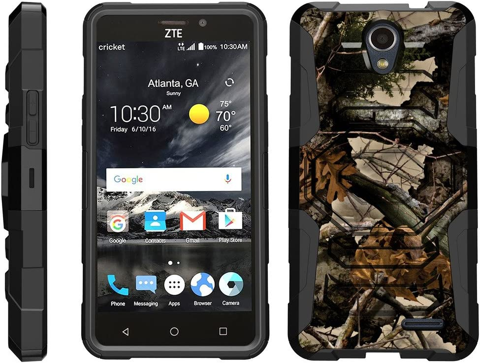 TurtleArmor | Compatible with ZTE Prestige 2 Case | ZTE Maven 3 Case | ZTE Overture 3 Case [Octo Guard] Dual Layer Case Holster Belt Clip Sturdy Kickstand Cover - Tree Leaves Camouflage