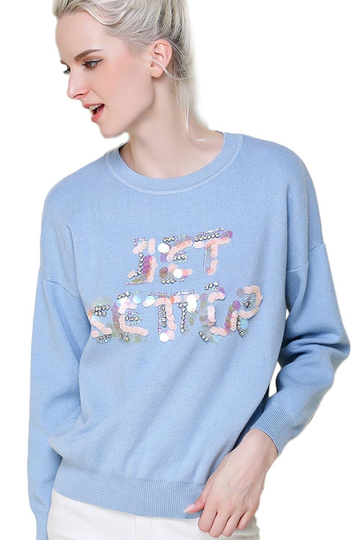 Women's Long Sleeve Letters Beaded Knit Cardigan Sweater