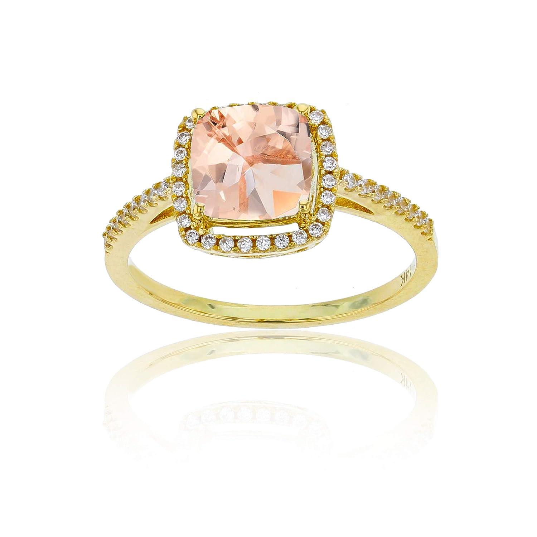 Sterling Silver Yellow 0.18 CTTW Round Diamond /& 7mm Cushion Gemstone Halo Ring