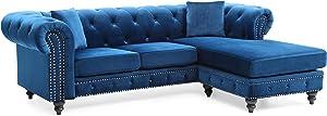 Glory Furniture Nola , Navy Blue Sofa Chaise (3 Boxes), 31