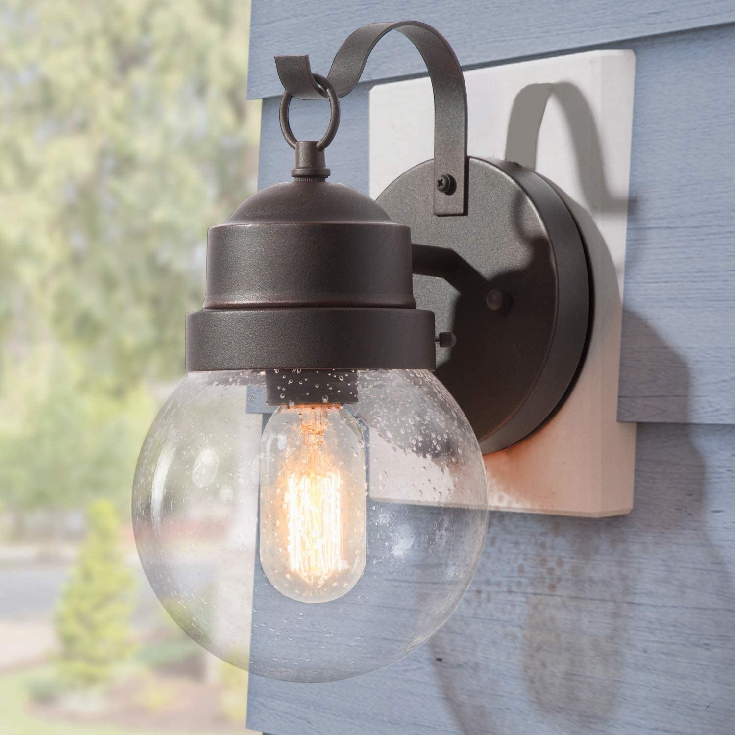 """LOG BARN Outdoor Wall Sconce Modern Spherical Outdoor House Lights Wall Mount with Seeded Glass, Anti-Rust Rustic Bronze Exterior Light Fixture for Porch, Yards, Garage, E26 Socket, 11""""H"""