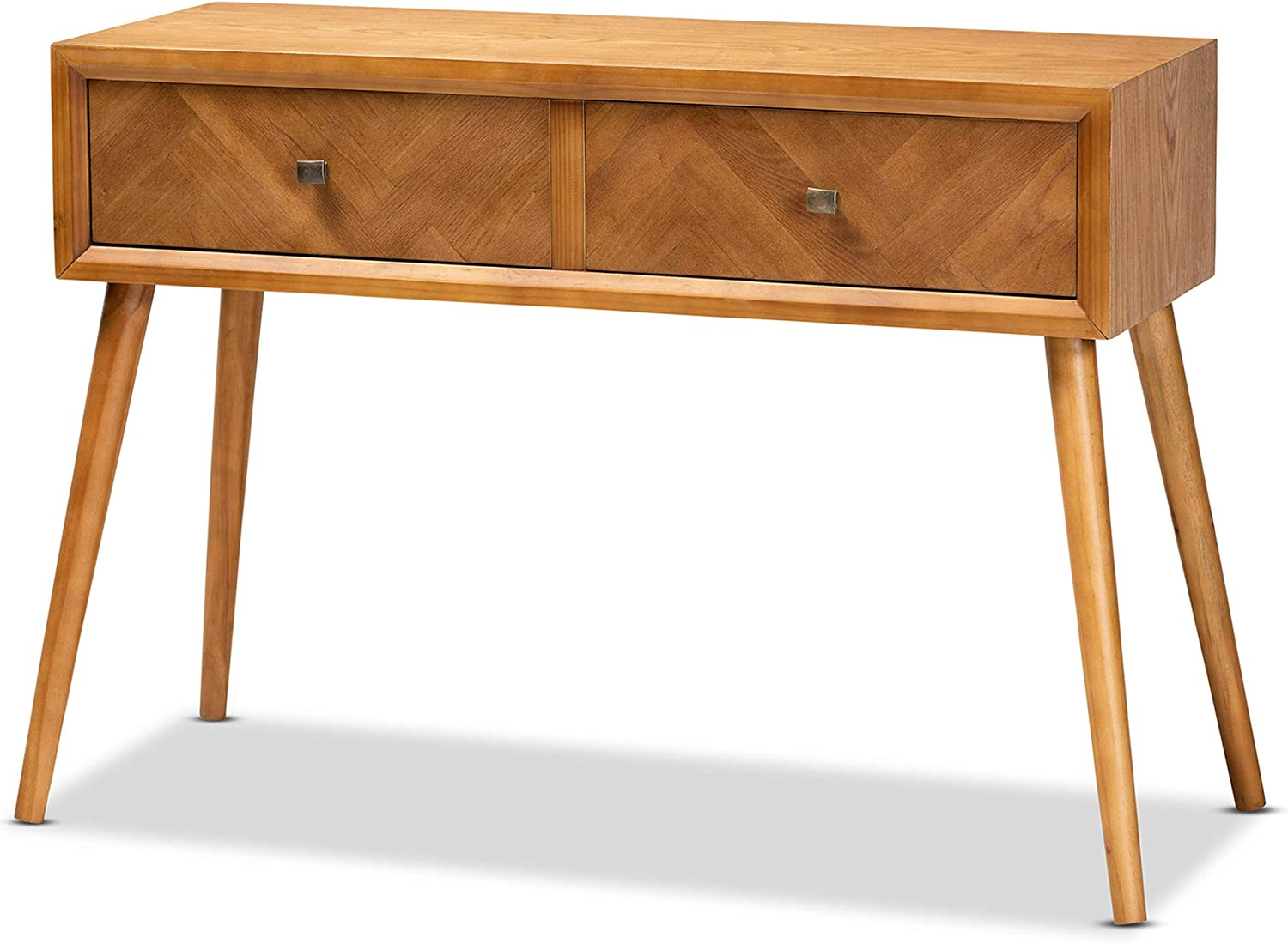 Baxton Studio Mae Mid-Century Modern Natural Brown Finished Wood 2-Drawer Console Table