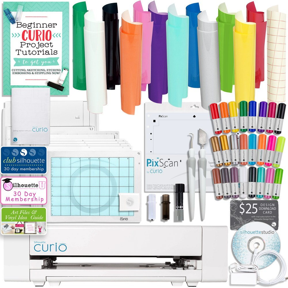 Silhouette Curio Starter Bundle with 12 Oracal 651 Sheets, Pixscan Mat, 24 Sketch Pens, Tools, and More