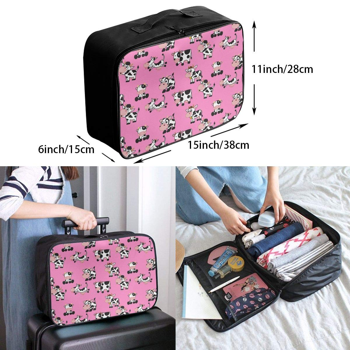 YueLJB Cute Cartoon Cow Lightweight Large Capacity Portable Luggage Bag Travel Duffel Bag Storage Carry Luggage Duffle Tote Bag
