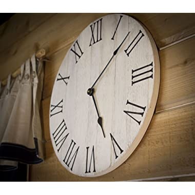 Large Farmhouse Style Clock, 16  diameter with Roman numbers