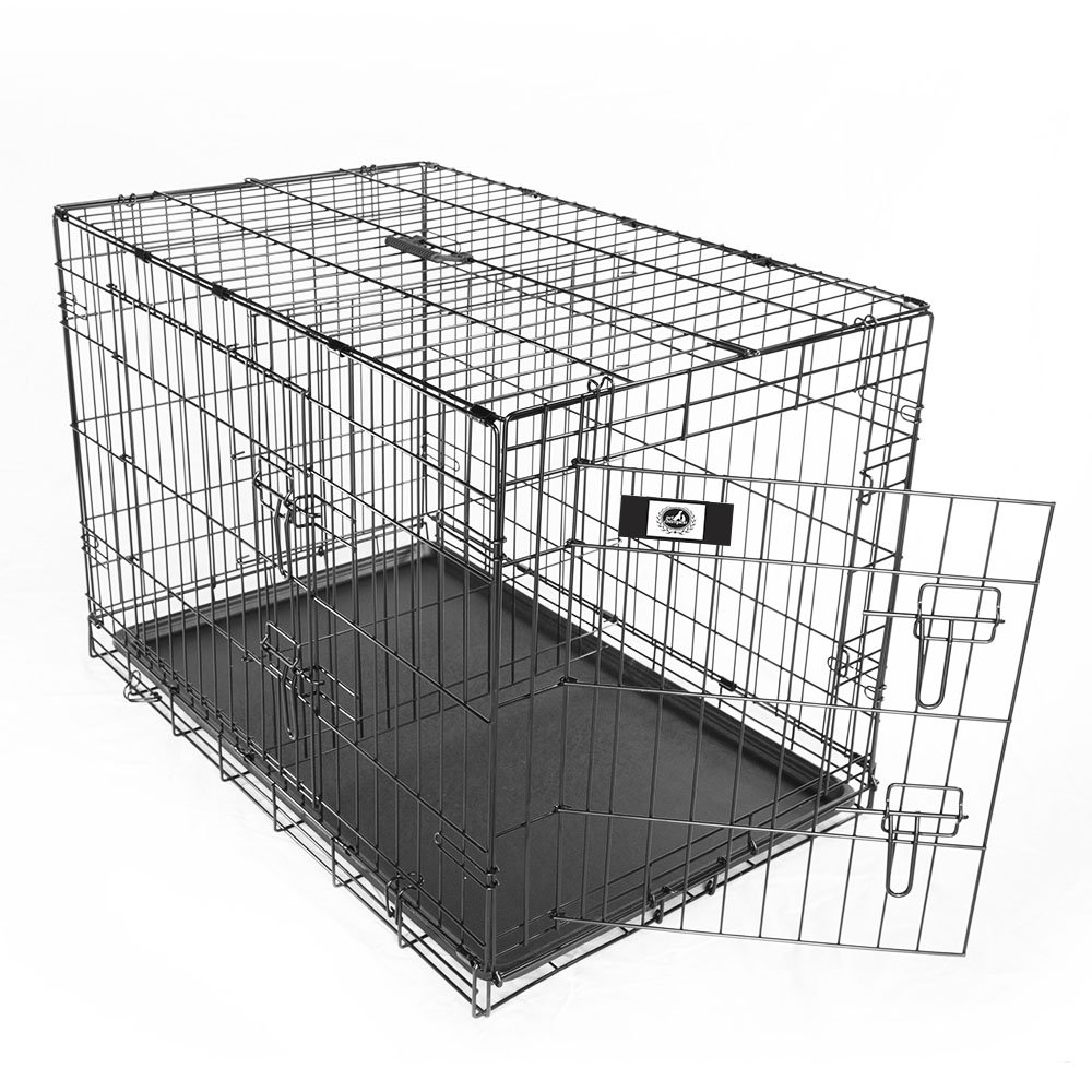 Pet Champion Deluxe 36 Inch Folding Portable 2-Door Wire Pet Crate Kennel, Large, Up to 70 Pounds by Pet Champion (Image #6)