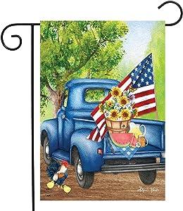 "Briarwood Lane Old Days Summer Garden Flag Pickup Truck Patriotic 12.5"" x 18"""