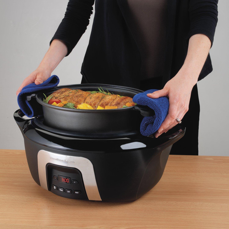 Hamilton Beach 33265C 6 Quart Cool Touch Programmable Stove Top Safe Slow Cooker