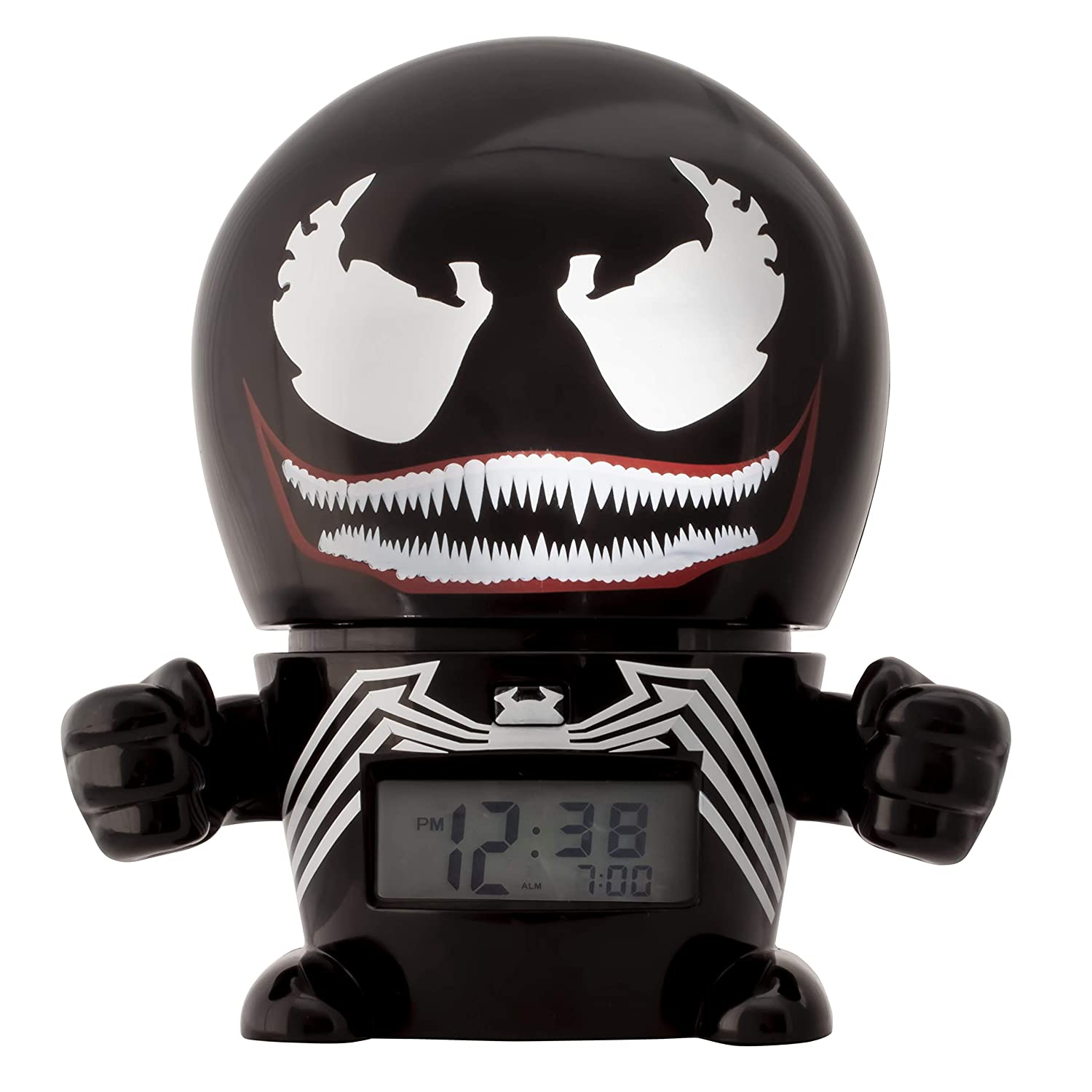 BulbBotz Marvel 2021715 Venom Kids Night Light Alarm Clock with Characterised Sound | black/red | plastic | 5.5 inches tall | LCD display | boy girl | official Clictime