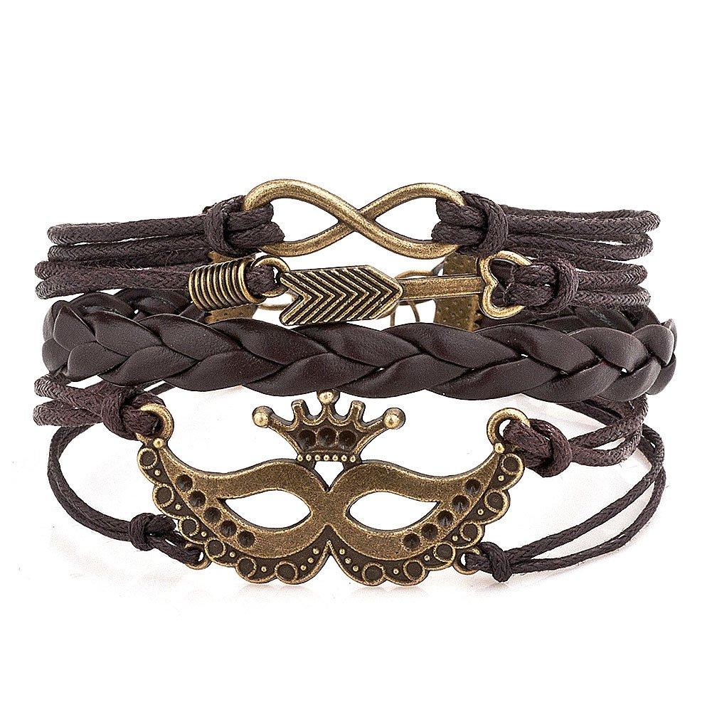 Charmed Craft Angel Wings Bracelet Infinity Love Leather Wrap Rope Braided Bracelets for Women Girls
