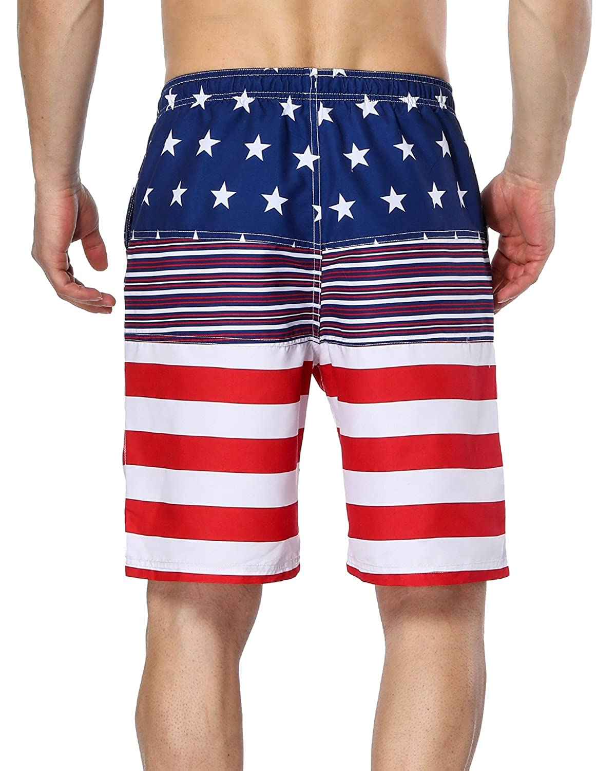 bc52ca41b1 Amazon.com: Sociala Men's American Flag Swim Trunks US Flag Bathing Suit  Board Swim Shorts: Clothing