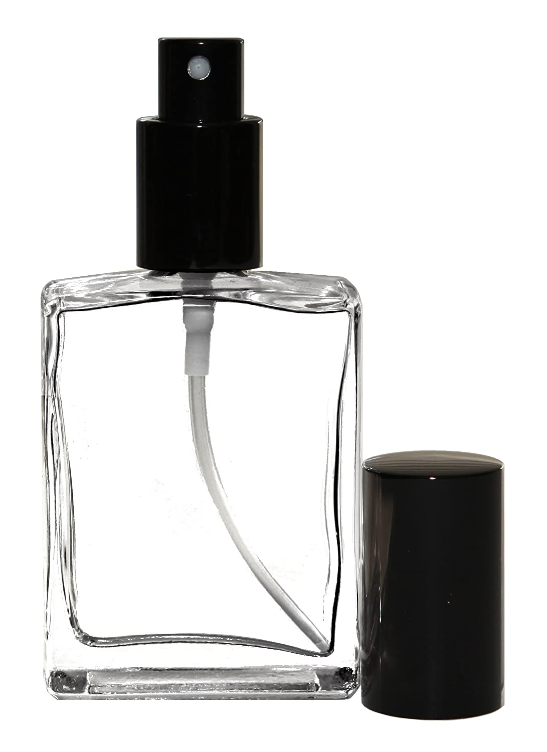 Riverrun Perfume Atomizer, Flat Glass Bottle, Black Fine Mist Sprayer 1 oz 30ml Set of 3