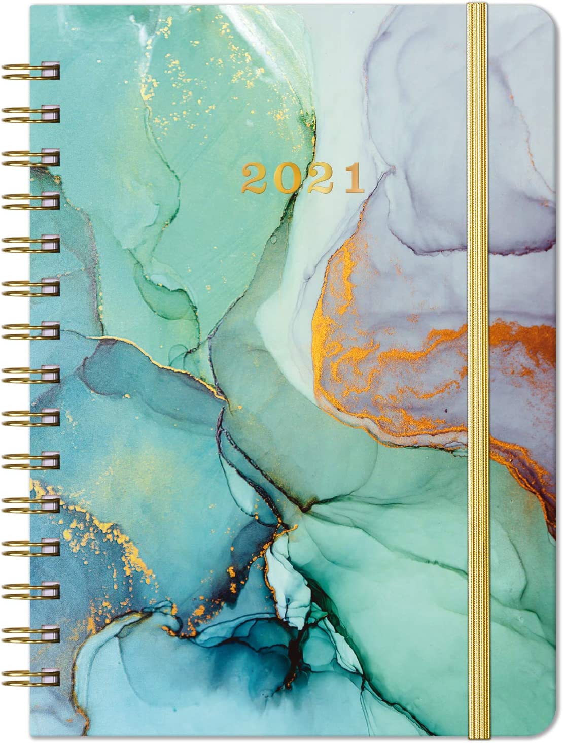"""2021 Planner - Weekly, Monthly and Yearly Planner with Prelabeled Monthly Tabs, Thick Premium Paper, 6.3"""" x 8.4"""", Twin-Wire Binding with Flexible Cover, Inner Pocket"""