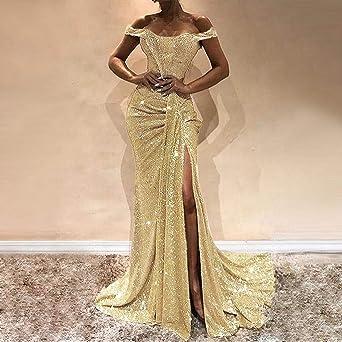Sannysis damska sukienka wieczorowa, seksowna sukienka koktajlowa na wesele, sukienka maxi, błyszcząca, wysoka sukienka na imprezę, 4 kolory, elegancka sukienka bez ramion, odświętna, asymetryczna suk