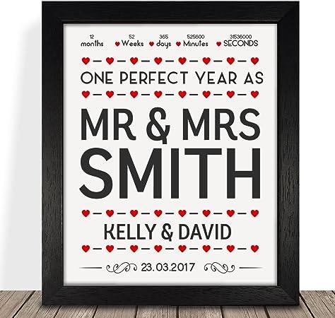 10 Année Anniversaire couples Personnalisé Fiançailles Cadeau De Mariage Poster print 9