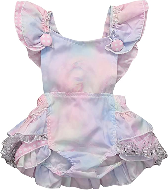 Carolilly Baby Girls Sweet Rainbow Lace Ruffles Romper Short Sleeve Bodysuits Summer Outfits