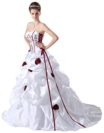 Faironly White Red Bridal Wedding Dress B408 at Amazon Women\'s ...