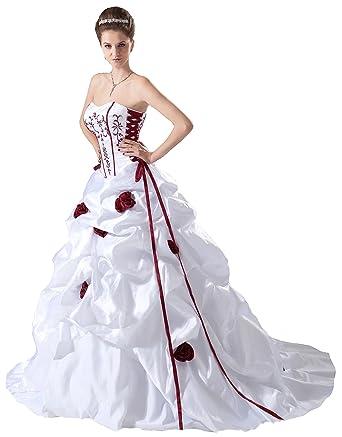 Faironly White Red Bridal Wedding Dress B408 at Amazon Women\'s ...